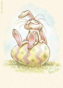 Easter Bunny sitting on giant Easter Egg