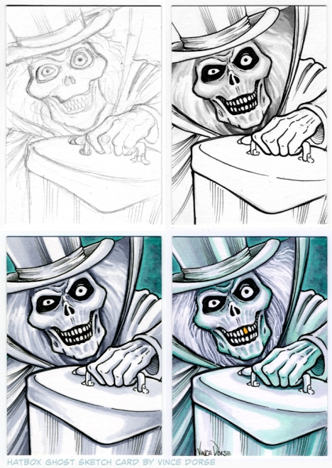 Hatbox Ghost Sketch Card by Vince Dorse