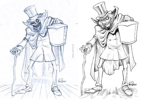 Hatbox Ghost by Vince Dorse, pencils and inks
