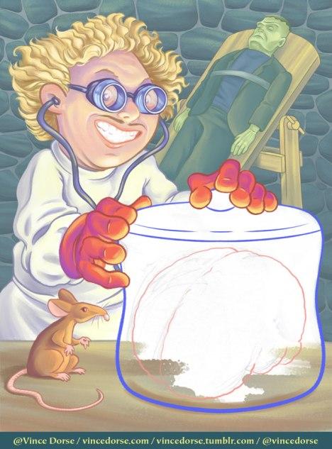 Dr. Frankenbrain coloring the figures
