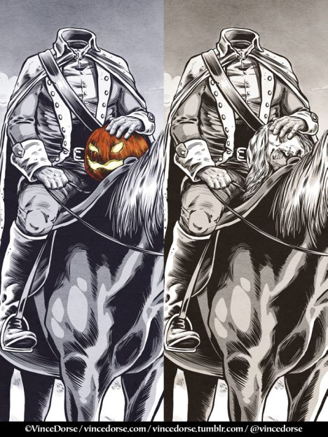 Headless Horseman, two versions by Vince Dorse