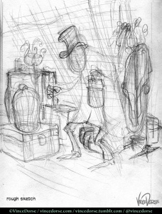 The Lodger: rough sketch by Vince Dorse