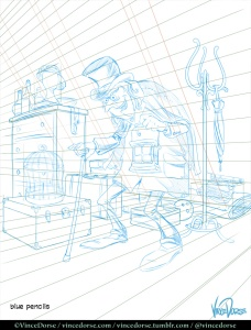 The Lodger: blue pencil line by Vince Dorse