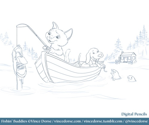 Fishin' Buddies pencils by Vince Dorse