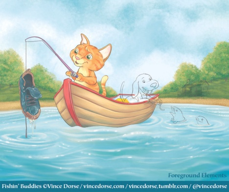 Fishin' Buddies process by Vince Dorse