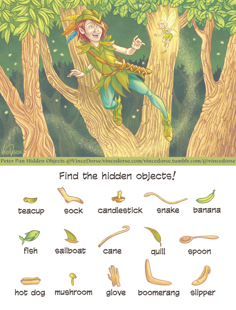 Hidden Objects Puzzle with Peter Pan