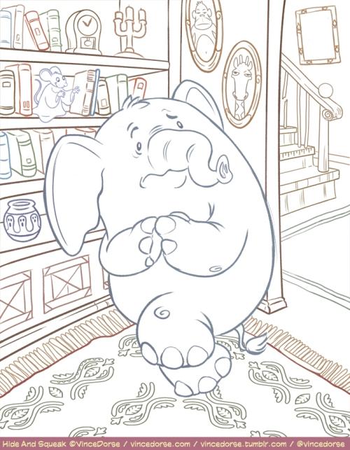 Hide and Squeak illustration, puzzle, pencils