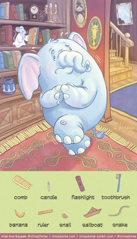 Hide and Squeak illustration, puzzle