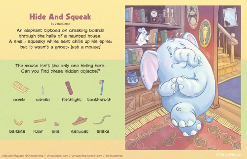 Hide and Squeak illustration, puzzle and poem