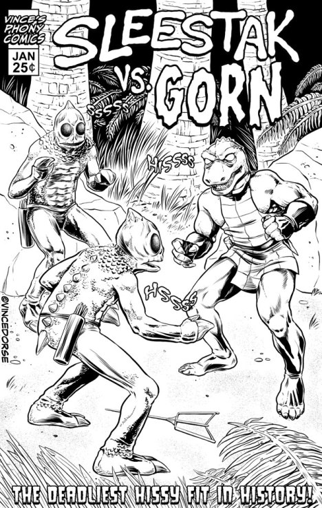 Imaginary comic pitting the Sleestak against the Gorn